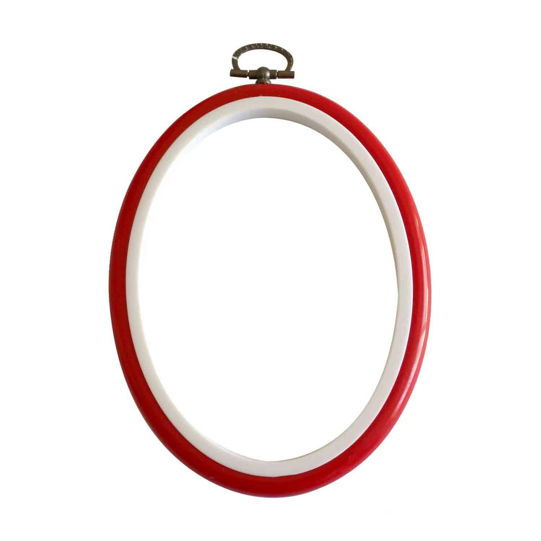 MV 034 L Bastidor marco rojo oval 13 cms DMC | Costuritas